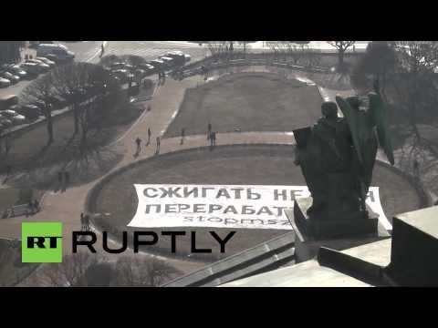 Russia: Greenpeace activists unfurl MASSIVE anti-pollution banner in St. Petersburg