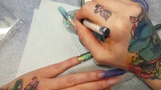 Extreme Length Mermaid Nails, Netting, Glitter and Jewellery Stones