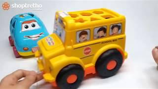 Ô tô đồ chơi trẻ em, xe ô tô thả hình mầm non cho bé yêu, bé học hình học với đồ chơi thả hình ô tô