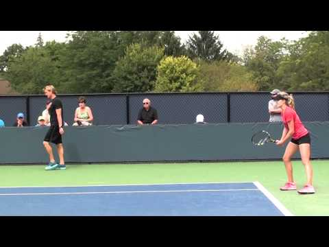 Eugenie Bouchard practicing at Cincy - August 2014