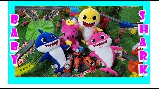 Baby Shark Family, Pinkfong Meet Thomas and Friends, Train Race Pretend Play