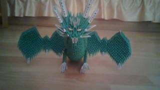3d Origami Dragon Green