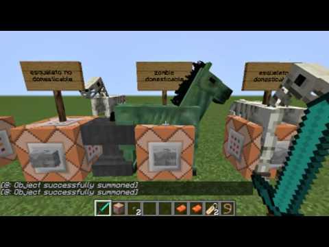 Como domar caballo zombie y esqueleto en minecraft sin mods 1.7.2 en adelante con el bloque de coman