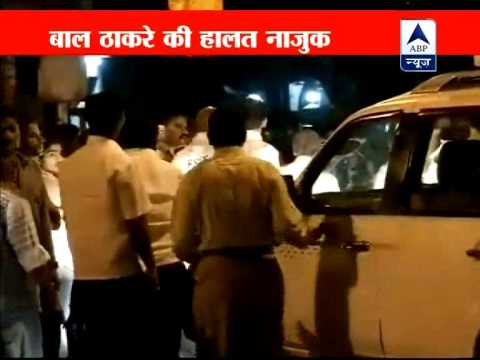 Shiv Sena chief Bal Thackeray critical heavy security outside...