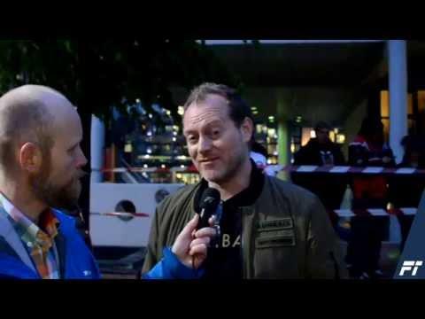 Gumball 3000 Follo Trafikkteam talks to Maximillion Cooper at Aker Brygge Oslo
