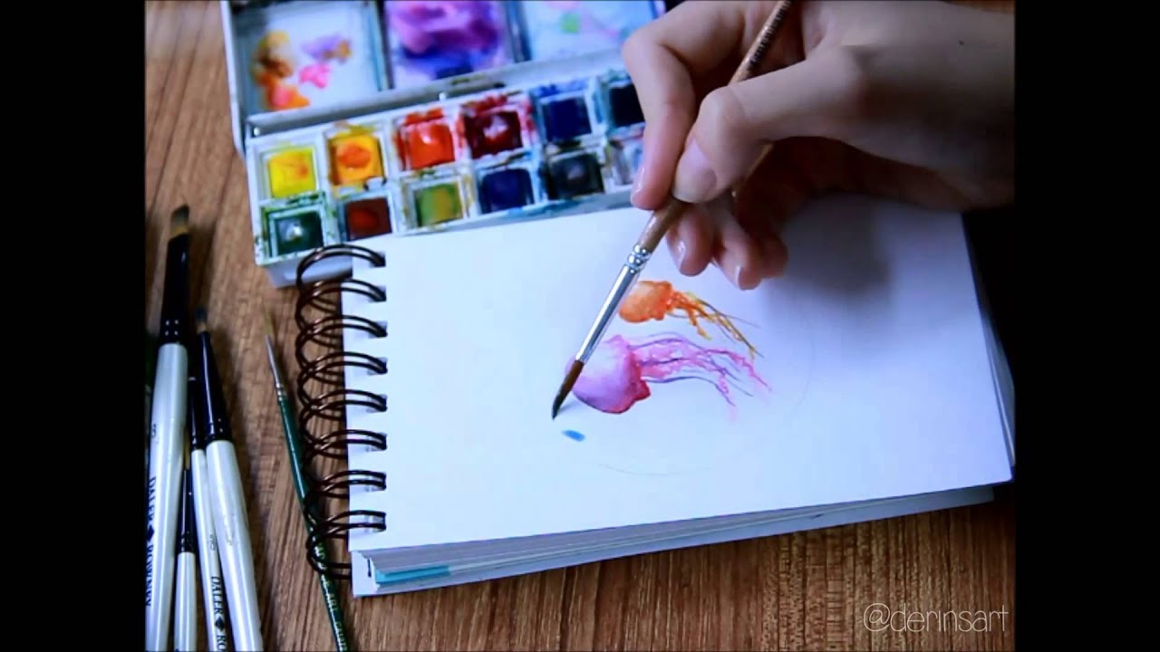 Watercolor Jellyfish - Timelapse - YouTube