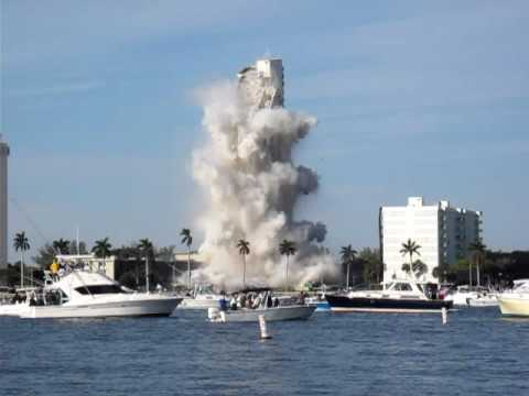 Demolition of 1515 S. Flagler Drive by implosion WPB, FL, Valentines day