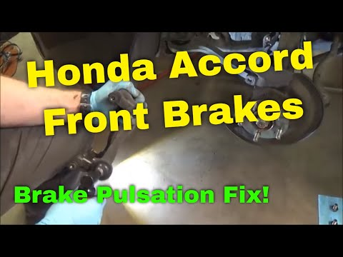 Honda Front Brake Pad and Rotor Replacement 2004 Accord (Brake Pulsation Fix) Part 1