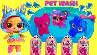 New LOL Surprise Fuzzy Pets Makeover Series at Pool Pet Wash with Splatters