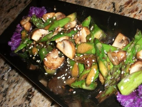How To Make Stir fry Asparagus and Baby Bella Mushroom