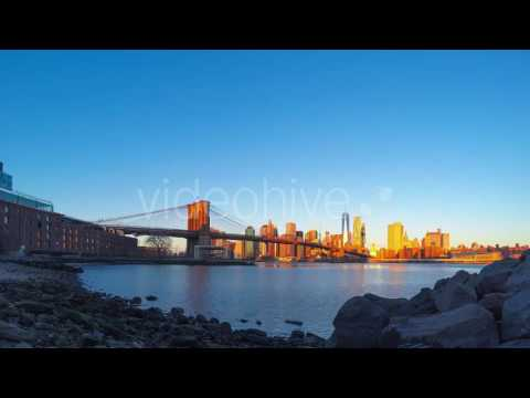 Rocky Shore and the Sunrise over Manhattan - Stock Footage | VideoHive 14865608