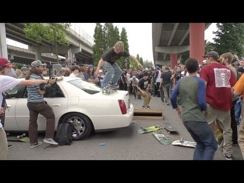 Skateboarders Destroy A Cadillac On Go Skateboarding Day 2018
