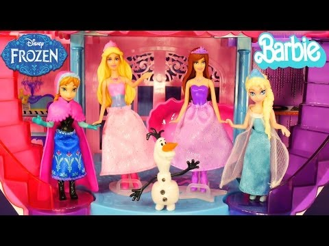 Barbie Musical Light Up Castle Disney Frozen Elsa and Princess Anna Barbie Girl Doll Popstar Playset
