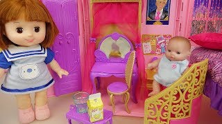 Baby doll with bag house and bed room house play