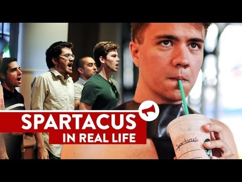 """""""I Am Spartacus!"""" Starbucks Prank - Movies In Real Life (Ep 9)"""