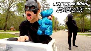 Batman vs Alien Shadow vs Bad Baby Giant Gummy Bear Comics in real life Superhero Kids