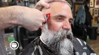 Massive Beard Trim with Great Haircut for Thin Hair | The Dapper Den Barbershop