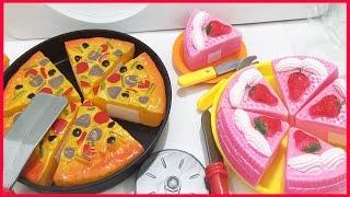 Đồ chơi nấu ăn, bánh pizza cắt, bánh sinh nhật cắt, dao thìa nĩa (Chim Xinh)