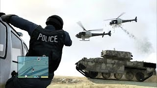 GTA V 5 Star Police Chase : Tank Rampage