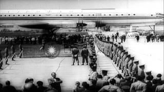 Soviet Premier Nikita Khrushchev and President Eisenhower meet at Camp David in M...HD Stock Footage