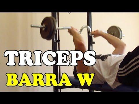 Como ganar masa muscular en los brazos ejercicios para triceps con barra w youtube - Barras de ejercicio para casa ...