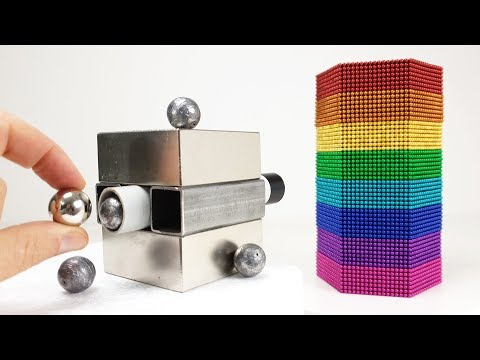 Magnetic Cannon VS Rainbow Tower out of Magnetic Balls  Magnetic Games