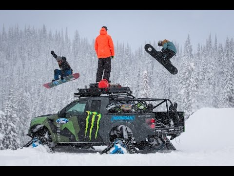 Ken Block takes his Ford F-150 RaptorTRAX out to the Baldface Lodge in Nelson, British Columbia to put it to the test as the ultimate backcountry snowboard expedition vehicle, along with fellow...