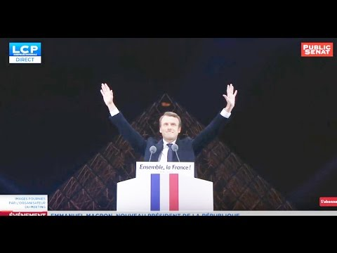 """All seeing eye"" symbolism at Emmanuel Macron victory speech #NWO #LouvrePyramid"
