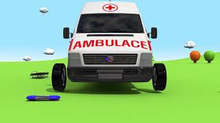 Learning Colors with Assembly Cars Ambulance Street Vehicle Nursery Rhymes & Kids Songs