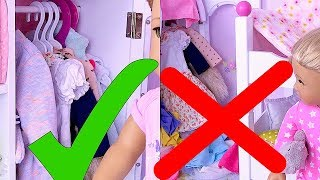 Baby Doll How to Organise Wardrobe Closet Toy and Clean up Bedroom with AG Dolls!  🎀
