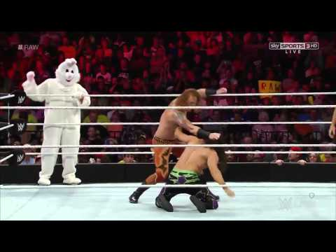 WWE: The Bunny Debut Match Adam Rose vs. Heath Slater Titus O Neil Raw 9 22 14 Full Match