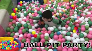 Indoor ball pit party and fun at the kids playground with Jac