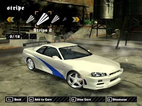 Need For Speed Most Wanted Nissan Skyline GT-R Brian Vinyls