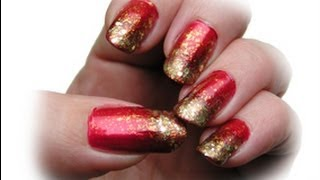 Sponge- Nail Art Tutorial red/gold easy step by step Ombre Nail Art deutsch DIY