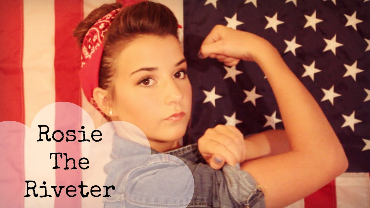 rosie the riveter makeup hair and outfit halloween tutorial youtube. Black Bedroom Furniture Sets. Home Design Ideas