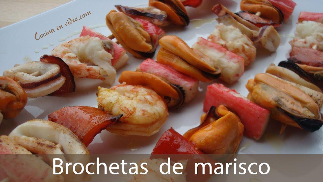 Brochetas de marisco 140 cocina en youtube - Brocheta de langostinos y bacon ...