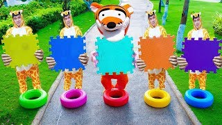 Learn Bucket Colors/Five Little Babies Jumping On The Bed Educational Videos 색깔놀이