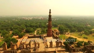 Qutub Minar complex and South Delhi sky from the air - stunning HD