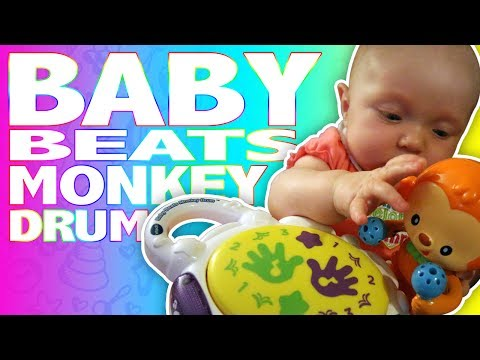 SHE LOVES THIS TOY! Baby Beats Monkey Drum   Toy Review Video