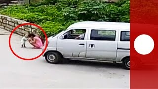 11-month-old survives being hit by bus with minor injuries, China
