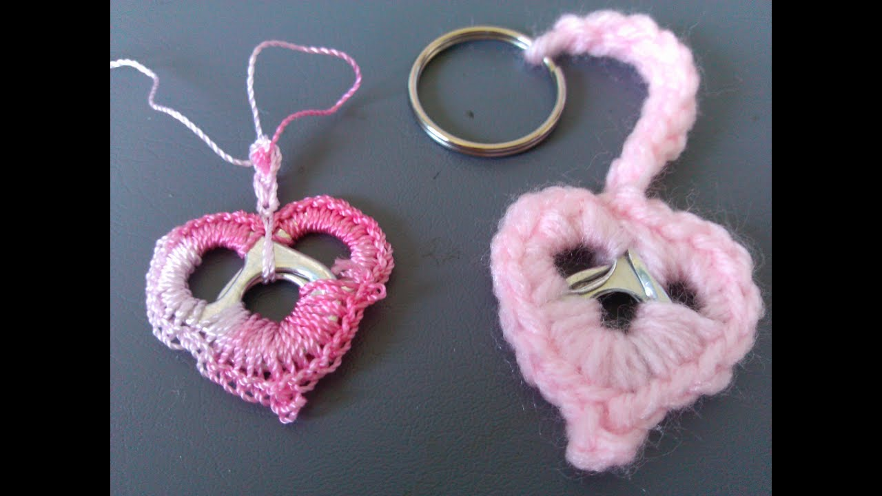 Crochet Patterns Key : Crochet Soda tab Heart Key Ring - Super Easy - YouTube
