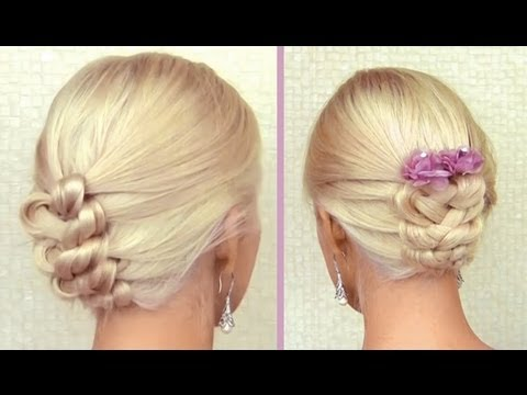 Knot braid updo for medium long hair tutorial Elegant  New Year's Christmas hairstyle