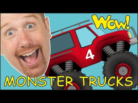 Monster Trucks for Children from Steve and Maggie | Learning Speaking Stories with Wow English TV