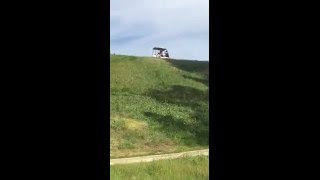 Golf Cart Slides out of Control down Hill