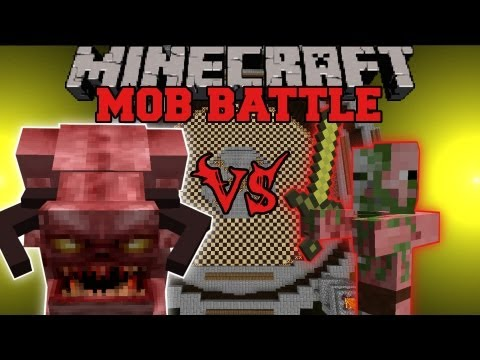 Pinky Vs. Zombie Pigman - Minecraft Mob Battles - Arena Battle - Demon Mobs Mod video