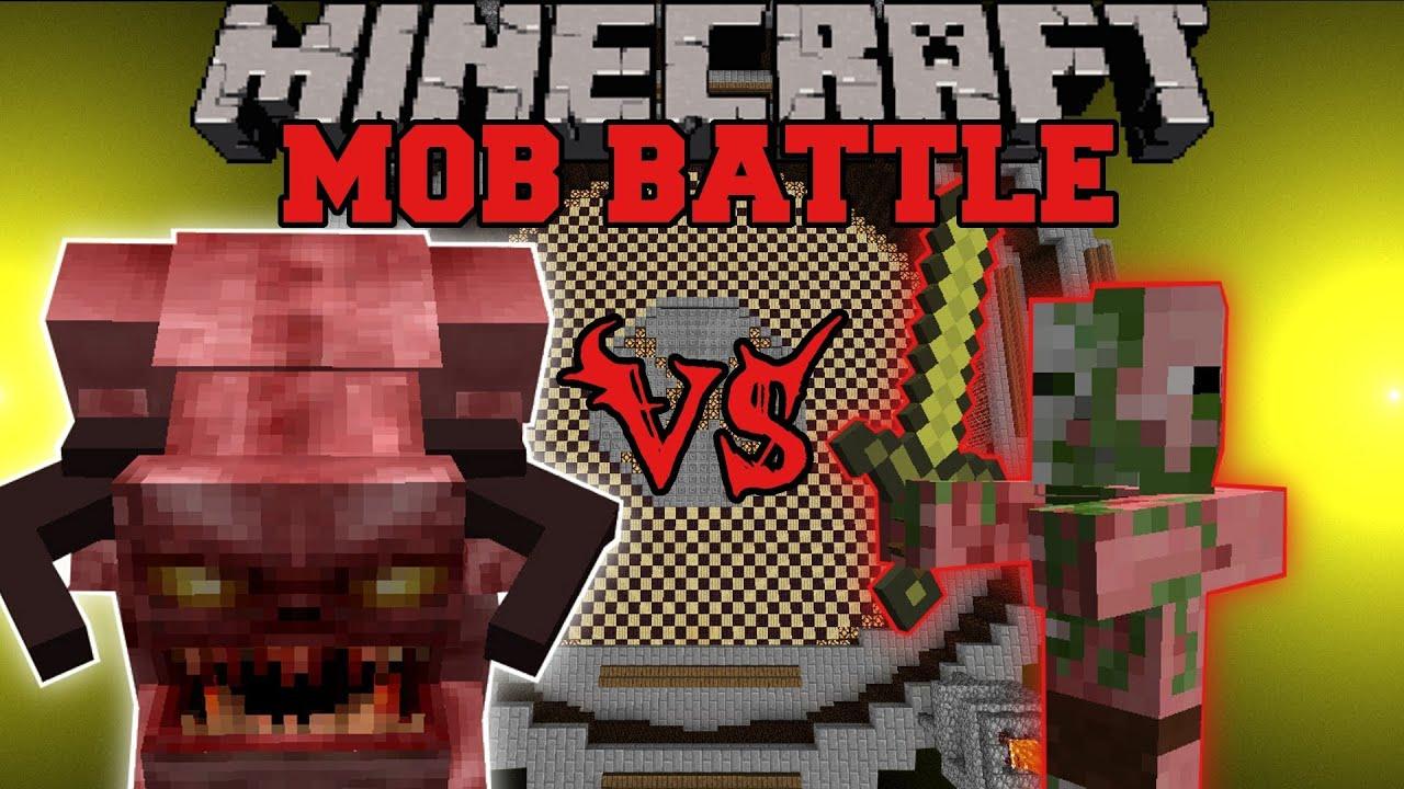 pinky vs zombie pigman minecraft mob battles arena