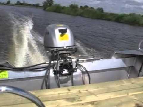 Aluminium jon boot honda 20 pk 4 takt 41.5 km/h      Aluminum jon boat 20 hp honda 4 stroke.