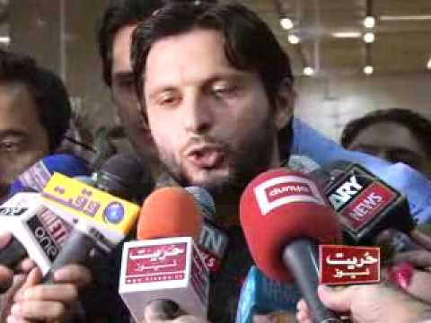 SHAHID KHAN AFRIDI MEDIA TALKS AT KARACHI AIRPORT