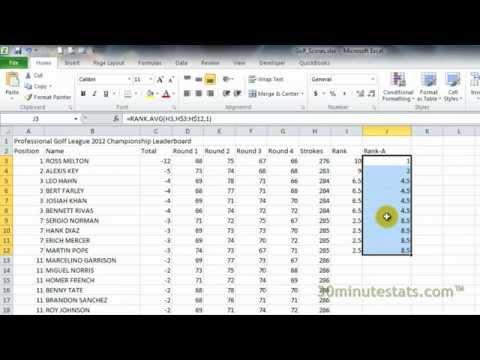 Excel 2010 - RANK.AVG Function