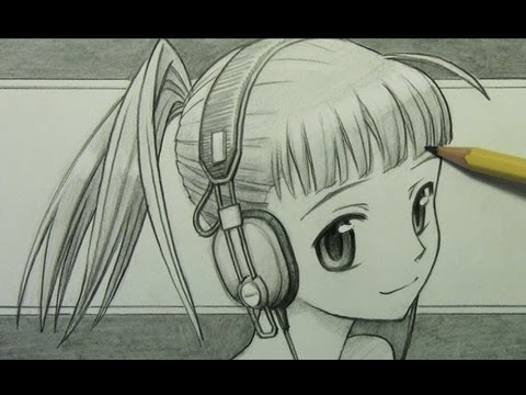 Girl With Earphones Drawing How to Draw a Manga Girl With